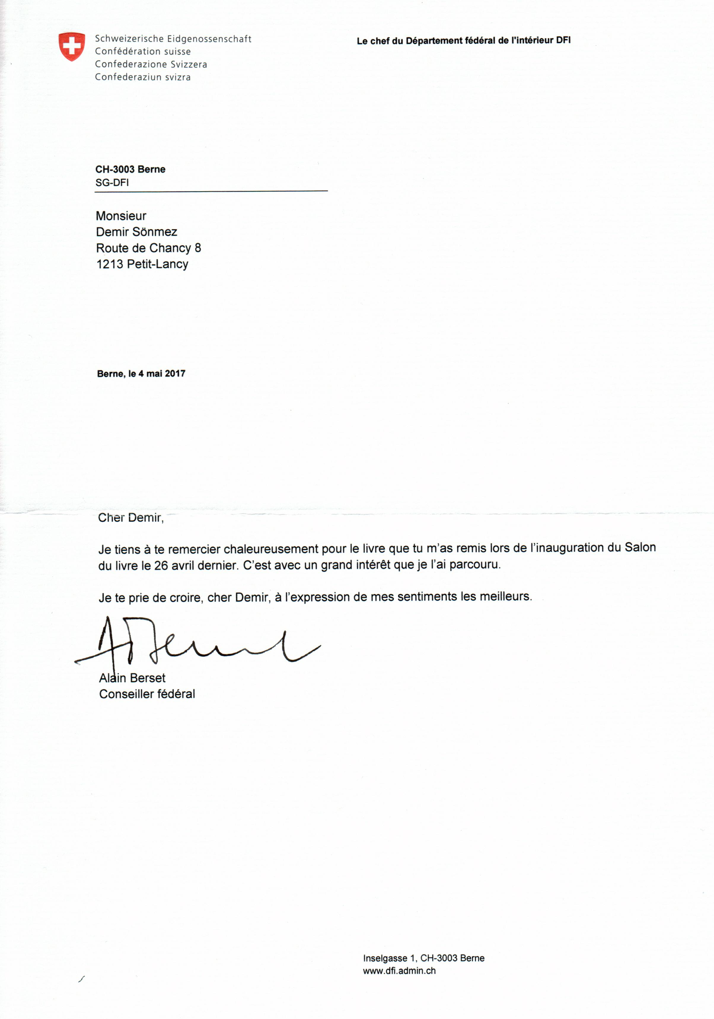 2017-04-05_La lettre  Conseiller Fédéral Alain Berset